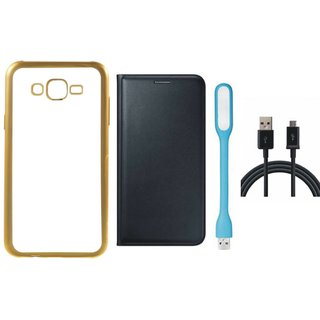 Chrome Tpu Back Cover with Golden Border for Lenovo Vibe K5 with Free Leather Finish Flip Cover, USB LED Light and USB Cable