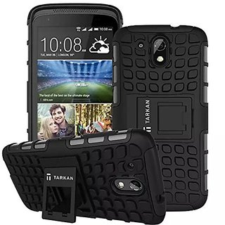 Anvika HTC Desire 526G Plus 526G+  Kick Stand Cover, Protective Heavy Duty Dual Layer Back Cover Case for HTC Desire 526G Plus 526G+ (Black)