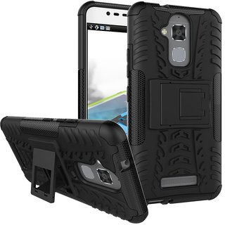 Anvika Defender Case for Asus ZenFone 3 Max ZC520TL 5.2 Inch Dual Layer Tough Rugged Shockproof Hybrid Warrior Armor Case Back Cover With Kickstand / Black