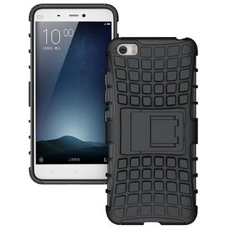 Anvika Defender Tough Hybrid Armour Shockproof Hard PC + TPU with Kick Stand Rugged Back Case Cover for    5 - Black