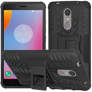 Anvika Defender Case for Lenovo k6 Note Dual Layer Tough Rugged Shockproof Hybrid Warrior Armor Case Back Cover With Kickstand / Black