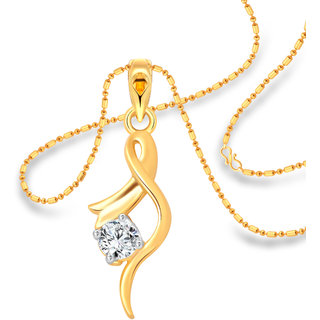 Vighnaharta Youthful Solitaire CZ Gold and Rhodium Plated Alloy Pendant with Chain for Girls and Women - VFJ1214PG
