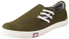 FAUSTO Olive Men's Casual Side Lace-ups