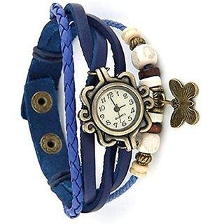 Vintage Brown Leather Wings Women Bangle Bracelet Vintage Watch gift