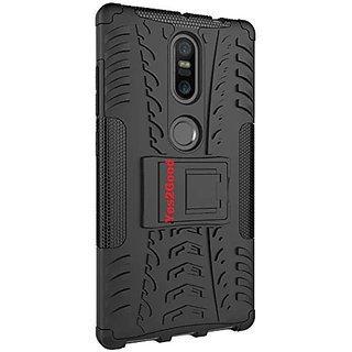 Anvika Dual Armor Kick Stand Back Cover Case for Lenovo Phab 2 Plus (Black)