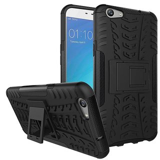 Anvika Defender Tough Hybrid Armour Shockproof Hard PC + TPU with Kick Stand Rugged Back Case Cover for Oppo F1s- Black