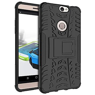 Anvika Hybrid Military Grade Armor Kick Stand Back Cover Case for Coolpad Max A8 (Black)