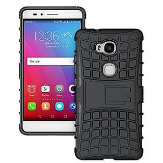 Huawei Honor 5X Cover,Anvika Impact Case For Huawei Honor 5X  Shock Proof High Impact Armor Kick Stand Dual Layer Hard/Soft Back Cover (Black)