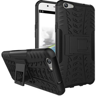 Anvika Defender Tough Hybrid Armour Shockproof Hard PC + TPU with Kick Stand Rugged Back Case Cover for Vivo V5 Plus - Black