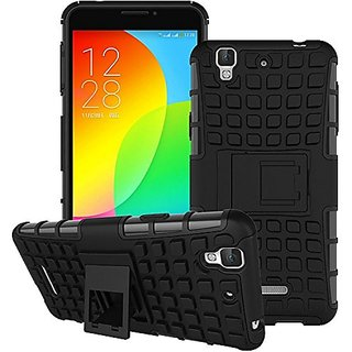 Anvika Rugged Hard Back Cover Kickstand Armor Case for Yu Yureka / Yureka Plus - New 2016 Edition (Black)