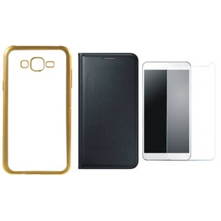 Lenovo A7700 Golden Edge Silicon Back Cover with Free Leather Finish Flip Cover, Tempered Glass
