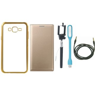 Chrome Tpu Back Cover with Golden Border for Lenovo A7700 with Free Leather Finish Flip Cover, Selfie Stick, USB LED Light and AUX Cable