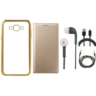 Chrome Tpu Back Cover with Golden Border for Lenovo A7700 with Free Leather Finish Flip Cover, Earphones, USB Cable and AUX Cable
