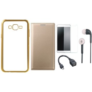 Lenovo A7700 Chrome TPU Silicon Back Cover with Free Premium Leather Finish Flip Cover, free Tempered Glass, free Earphones and Free OTG Cable