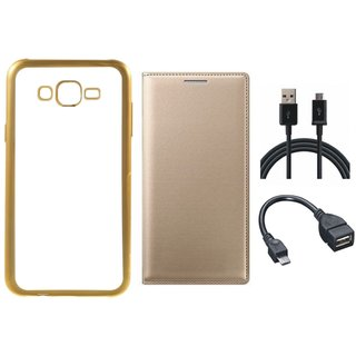Lenovo A7700 Chrome TPU Silicon Back Cover with Free Premium Leather Finish Flip Cover, free OTG Cable and Free USB Cable