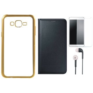 Lenovo K6 Note Back Cover with Free Leather Finish Flip Cover, Earphones and Tempered Glass