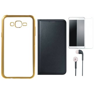 Chrome Tpu Back Cover with Golden Border for Lenovo K6 Note with Free Leather Finish Flip Cover, Tempered Glass and Earphones