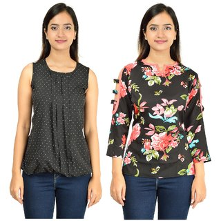 ae65d3777aa8d Timbre Women Stylish Cut Sleeves Black Printed Crepe Top For Women Ladies