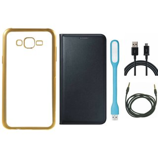 Chrome Tpu Back Cover with Golden Border for Lenovo K6 Power with Free Leather Finish Flip Cover, USB LED Light, USB Cable and AUX Cable