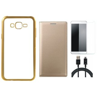 Lenovo K6 Power Golden Edge Silicon Back Cover with Free Leather Finish Flip Cover, Tempered Glass and USB Cable