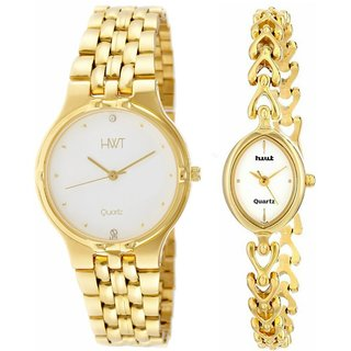 HWT Round And Bangle White Dail Golden Metal Couple Watches Combo