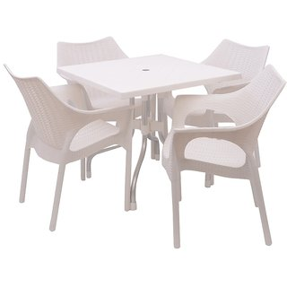 Supreme - Outdoor Set (4 Cambridge Chair + 1 Olive Table) White