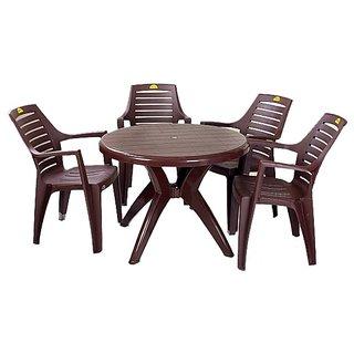 Supreme - Outsoor Set (4 Orlando Chair + 1 Marina Table) Brown