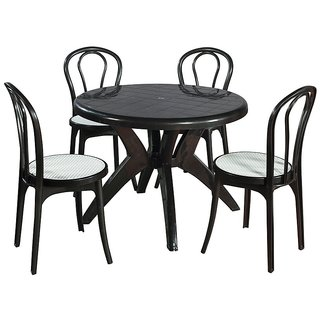 Supreme - Outdoor Set (Set Of 4 Pearl Cane Chair Without Arm + 1 Olive Table) Black/White