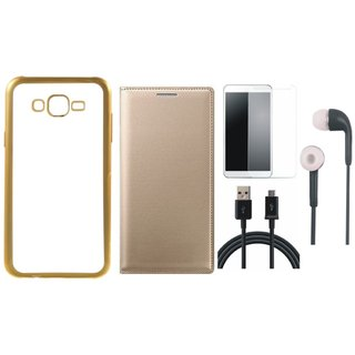 Lenovo K6 Power Silicon Back Cover with Golden Electroplated Edges with Free Leather Finish Flip Cover, Tempered Glass, Earphones and USB Cable