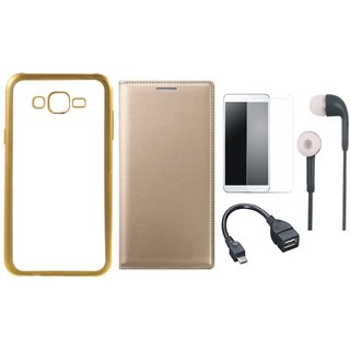 Moto E3 Silicon Back Cover with Golden Electroplated Edges with Free Leather Finish Flip Cover, Tempered Glass, Earphones and OTG Cable