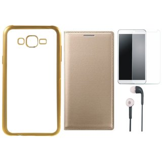 Moto E3 Power Silicon Back Cover with Golden Electroplated Edges with Free Leather Finish Flip Cover, Tempered Glass and Earphones