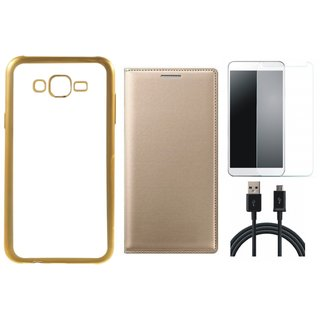 Chrome Tpu Back Cover with Golden Border for Moto E3 with Free Leather Finish Flip Cover, Tempered Glass and USB Cable