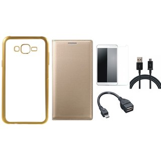 Moto E3 Silicon Back Cover with Golden Electroplated Edges with Free Leather Finish Flip Cover, Tempered Glass, OTG Cable and USB Cable