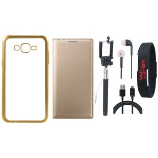Chrome Tpu Back Cover with Golden Border for Moto E3 Power with Free Leather Finish Flip Cover, Selfie Stick, Digtal Watch, Earphones and USB Cable