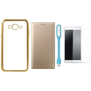 Buy Chrome Tpu Back Cover with Golden Border for Moto E3 with Free Leather Finish Flip Cover, Tempered Glass and USB LED Light Online - Get 61% Off