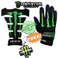 Monster Biker Full Finger Gloves With Bike Tank Pad With Free Key Chain