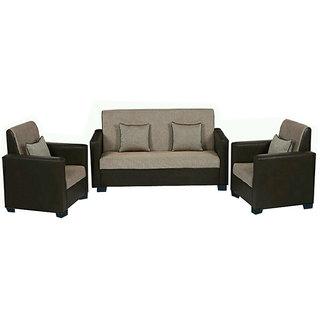 Parentbless Conanka Leatherette + Jute 3+1+1 Sofa Set Sofas