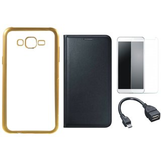 Chrome Tpu Back Cover with Golden Border for Oppo A57 with Free Leather Finish Flip Cover, Tempered Glass and OTG Cable