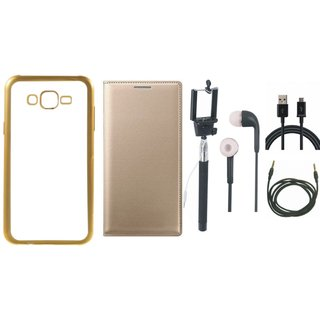 Oppo Neo 5 Golden Edge Silicon Back Cover with Free Leather Finish Flip Cover, Selfie Stick, Earphones, USB Cable and AUX Cable