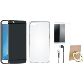 Vivo V7 Plus Back Cover with Ring Stand Holder, Silicon Back Cover, Tempered Glass and Earphones