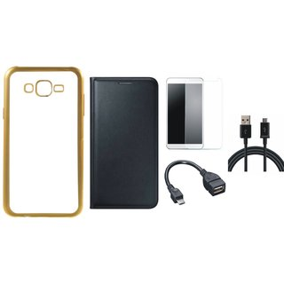 Oppo Neo 7 Chrome TPU Silicon Back Cover with Free Premium Leather Finish Flip Cover, free Tempered Glass, free OTG Cable and Free USB Cable