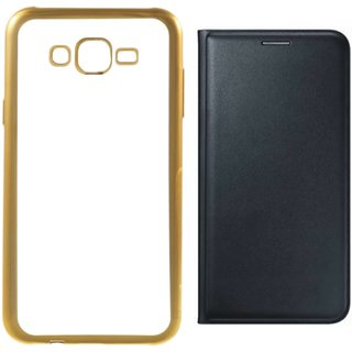 Redmi 2 Prime Silicon Back Cover with Golden Electroplated Edges with Free Leather Finish Flip Cover