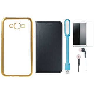 Redmi 2 Prime Silicon Back Cover with Golden Electroplated Edges with Free Leather Finish Flip Cover, Tempered Glass, Earphones and USB LED Light