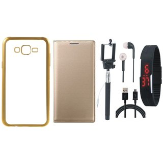 Oppo Neo 7 Chrome TPU Silicon Back Cover with Free Premium Leather Finish Flip Cover, free Selfie Stick, free Digtal Watch, free Earphones and Free USB Cable
