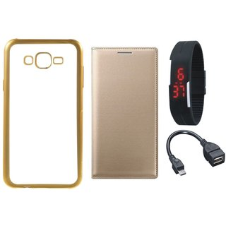 Redmi 2 Prime Golden Edge Silicon Back Cover with Free Leather Finish Flip Cover, Digital Watch and OTG Cable