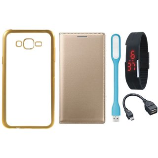 Redmi 2 Prime Silicon Back Cover with Golden Electroplated Edges with Free Leather Finish Flip Cover, Digital Watch, OTG Cable and USB LED Light