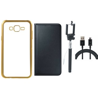 Oppo Neo 7 Silicon Back Cover with Golden Electroplated Edges with Free Leather Finish Flip Cover, Selfie Stick and USB Cable