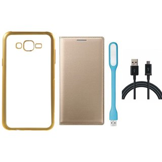 Redmi 2 Prime Silicon Back Cover with Golden Electroplated Edges with Free Leather Finish Flip Cover, USB LED Light and USB Cable