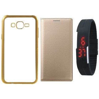 Oppo Neo 7 Back Cover with Free Leather Finish Flip Cover, Digital Watch