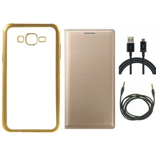 Chrome Tpu Back Cover with Golden Border for Oppo Neo 7 with Free Leather Finish Flip Cover, USB Cable and AUX Cable